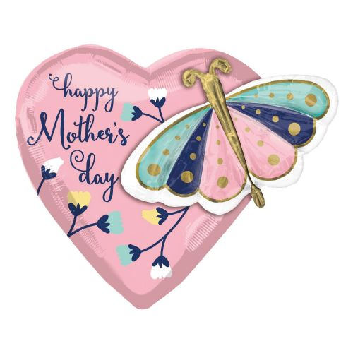 "Happy Mother's Day Butterfly & Heart Multi-Balloon XL Foil Balloons 26""/66cm x 24""/60cm P45"